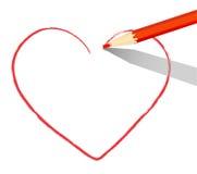 Coração vermelho tirado com lápis Foto de Stock
