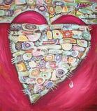 Coração vermelho tirado mão com teste padrão abstrato Imagem de Stock Royalty Free