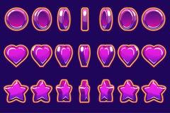Coração violeta dos desenhos animados, moeda e animação volta-baseada estrela, GUI para construir 2D jogos Jogo ocasional Pode se ilustração royalty free