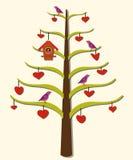 Corações, árvore, pássaros Imagens de Stock Royalty Free