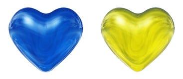 Corações 3D azuis e amarelos Foto de Stock