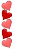 Corações 3D da beira do dia dos Valentim Imagens de Stock