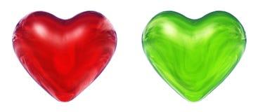 Corações 3D verdes e vermelhos Foto de Stock Royalty Free