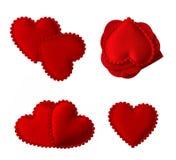 Corações acolchoados isolados da tela Foto de Stock Royalty Free