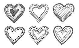 Corações agradáveis da garatuja ajustados Imagem de Stock