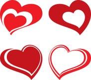 Corações ajustados Fotos de Stock Royalty Free