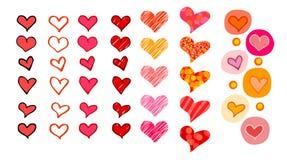 Corações ajustados Ilustração do Vetor
