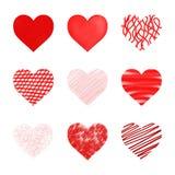 Corações ajustados Foto de Stock Royalty Free