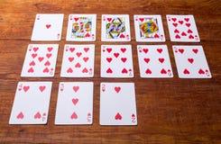 Corações ajustados de cartões de jogo Imagem de Stock