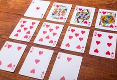 Corações ajustados de cartões de jogo Foto de Stock