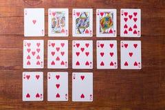 Corações ajustados de cartões de jogo Imagem de Stock Royalty Free