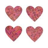 Corações ajustados do rosa da garatuja Foto de Stock