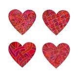 Corações ajustados do vermelho da garatuja Foto de Stock