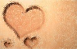 Corações amarelos da grama Imagens de Stock