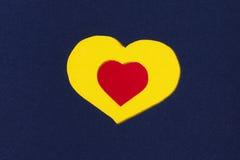 Corações amarelos e vermelhos Foto de Stock Royalty Free