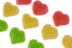 Corações amarelos e vermelhos verdes Fotografia de Stock