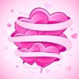 Corações amarrados com fita Imagens de Stock Royalty Free