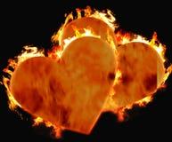 Corações ardentes Fotos de Stock