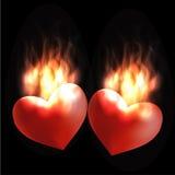 Corações ardentes Fotografia de Stock Royalty Free