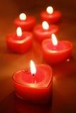 Corações ardentes da vela Imagens de Stock Royalty Free