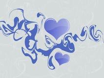 Corações azuis abstratos Ilustração Royalty Free