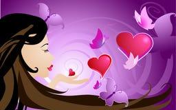 Corações, beijos e borboletas Foto de Stock