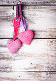 Corações bonitos do Crochet fotografia de stock
