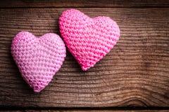 Corações bonitos do Crochet foto de stock royalty free
