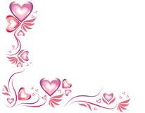 Corações bonitos em cores roxas e cor-de-rosa e no fundo branco Foto de Stock