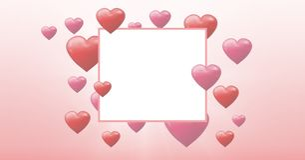 Corações borbulhantes dos Valentim com caixa vazia Fotografia de Stock Royalty Free