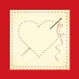 Corações bordados ilustração royalty free