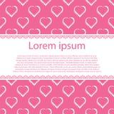 Corações brancos da tração da mão no fundo e na listra cor-de-rosa para o texto Foto de Stock