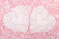 Corações brancos e cor-de-rosa Imagens de Stock Royalty Free