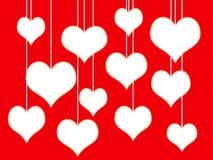 Corações brancos no fundo vermelho ilustração do vetor