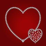 Corações brilhantes do diamante Imagens de Stock