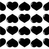 Corações brilhantes do preto sem emenda do teste padrão Foto de Stock
