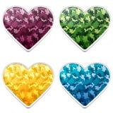 Corações coloridos da camuflagem Imagens de Stock