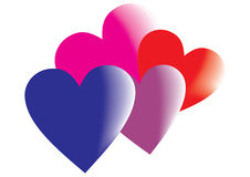 Corações coloridos do vetor Imagem de Stock