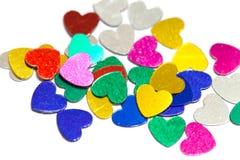 Corações coloridos dos confetes Imagens de Stock Royalty Free