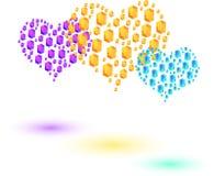 Corações coloridos feitos de cristais pequenos do hexahedron Fotos de Stock Royalty Free