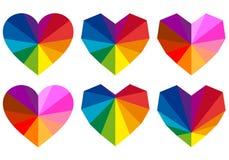 Corações coloridos, grupo do vetor Foto de Stock