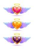 Corações coloridos lustrosos bonitos Imagens de Stock Royalty Free