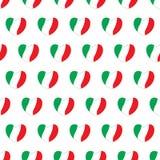 Corações com cores italianas das bandeiras Teste padrão sem emenda ilustração stock