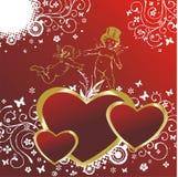 Corações com cupids Foto de Stock