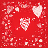 Corações com fundo vermelho ilustração royalty free