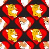 Corações com os gatos no teste padrão do amor Fotos de Stock Royalty Free