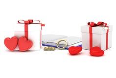 Corações com rendição do fundo 3D do dia do ` s do Valentim das caixas de presente e das alianças de casamento Imagem de Stock