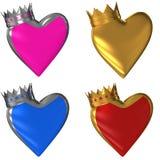 Corações com uma coroa Foto de Stock