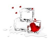 Corações congelados Imagens de Stock