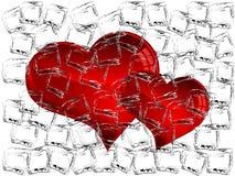 Corações congelados Fotos de Stock Royalty Free